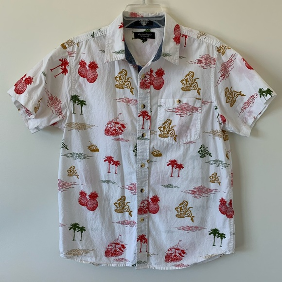 Eighty Eight Other - White Hawaiian Short Sleeve Button-Down Shirt Top